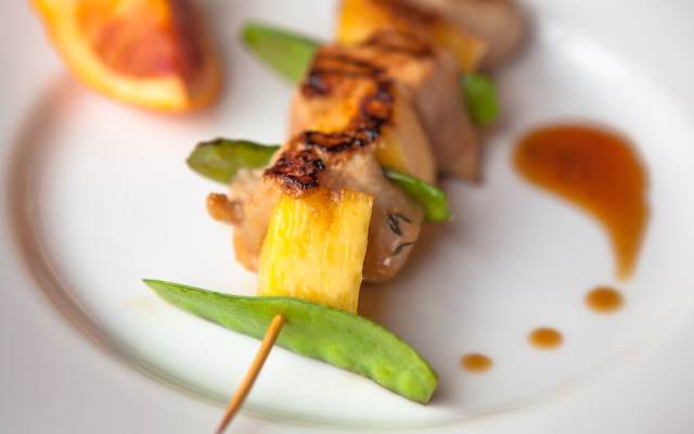 Chicken, Pineapple, and Snow Pea Kebobs