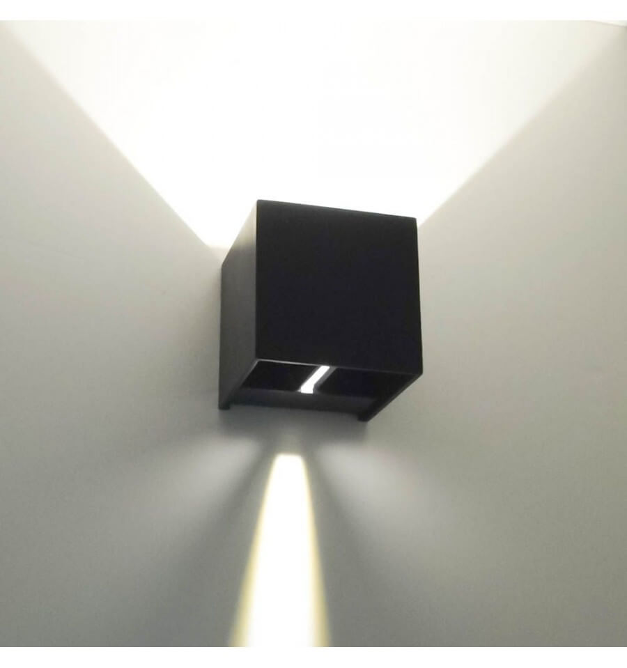 Spot Double Eclairage Exterieur Wall Light - Black Led Design Cubic