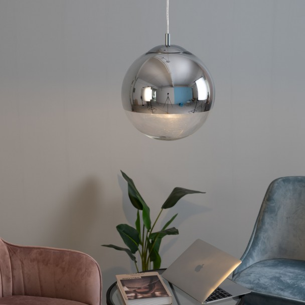 Suspension Verre Boule Suspension Design Sphère Chrome/verre Transparent Globe