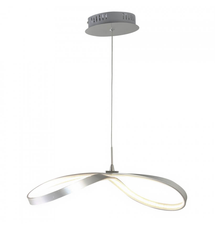Suspension Contemporaine Suspension Ruban Nickel Satiné Led Luminaire Acht