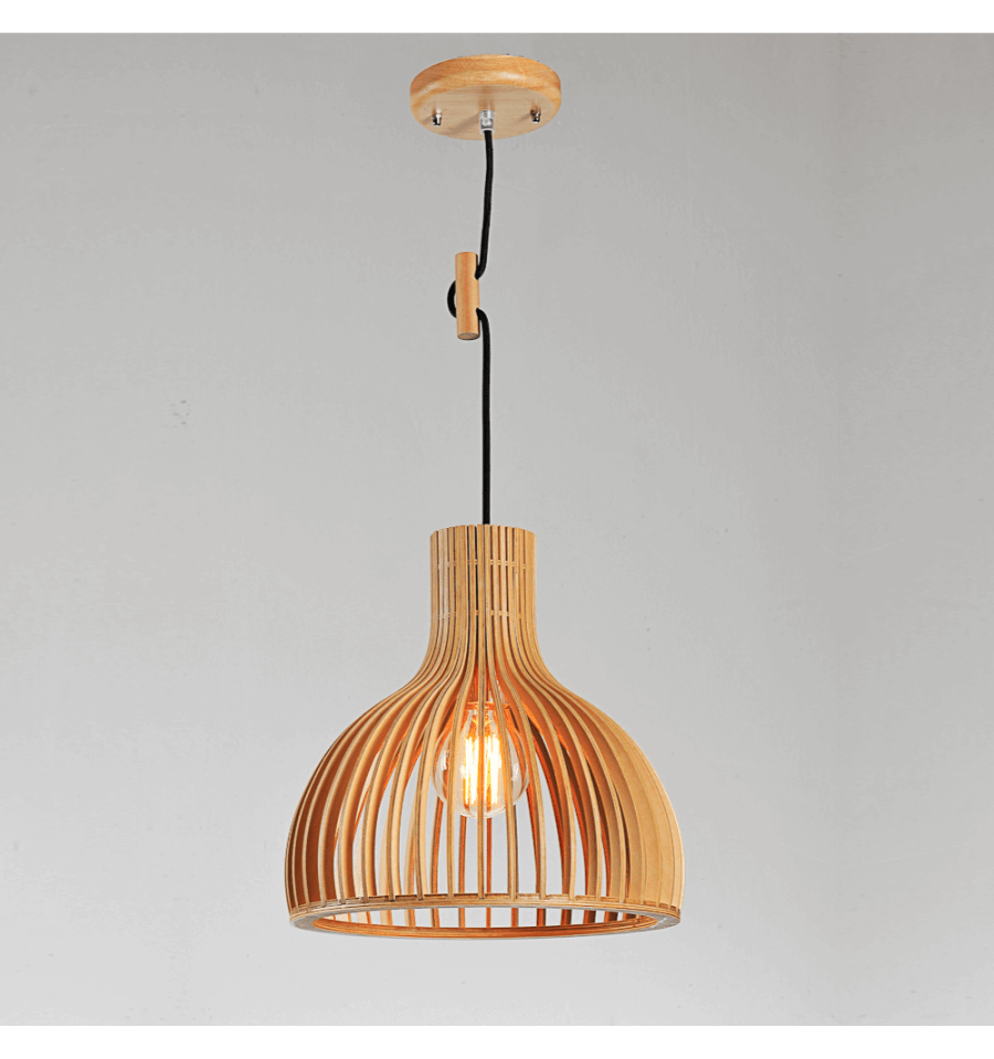Suspensions Scandinaves Suspension Scandinave Design Avec Abat Jour En Lamelles De Bois Erika