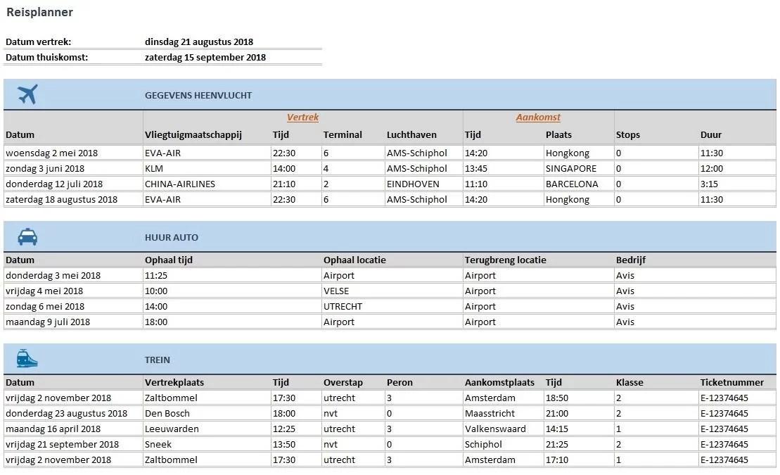 Reisplanner in Excel - Plan uw reis goed voor met dez handige