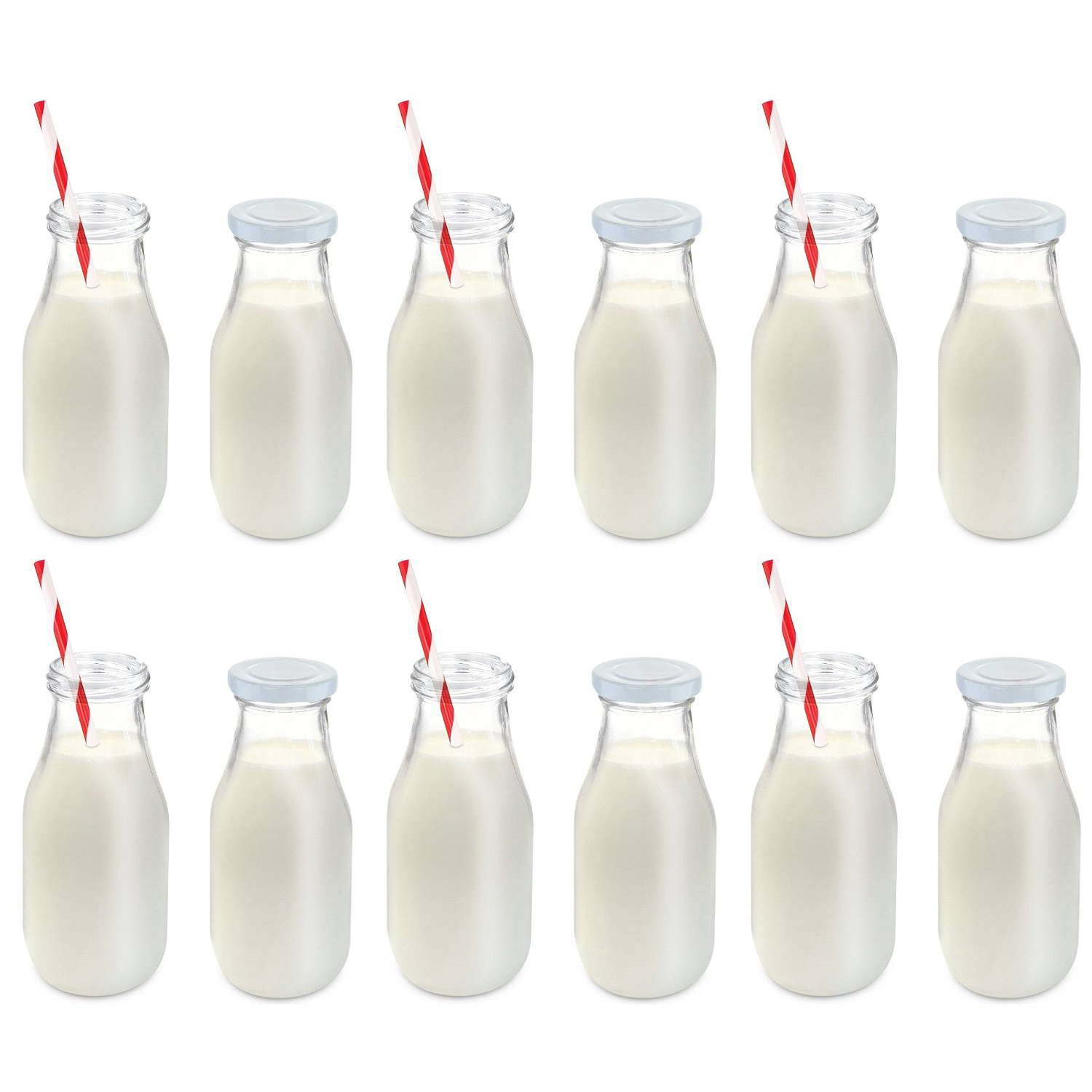Milk Bottles For Decoration 11 Oz Glass Milk Bottle Set Of 12