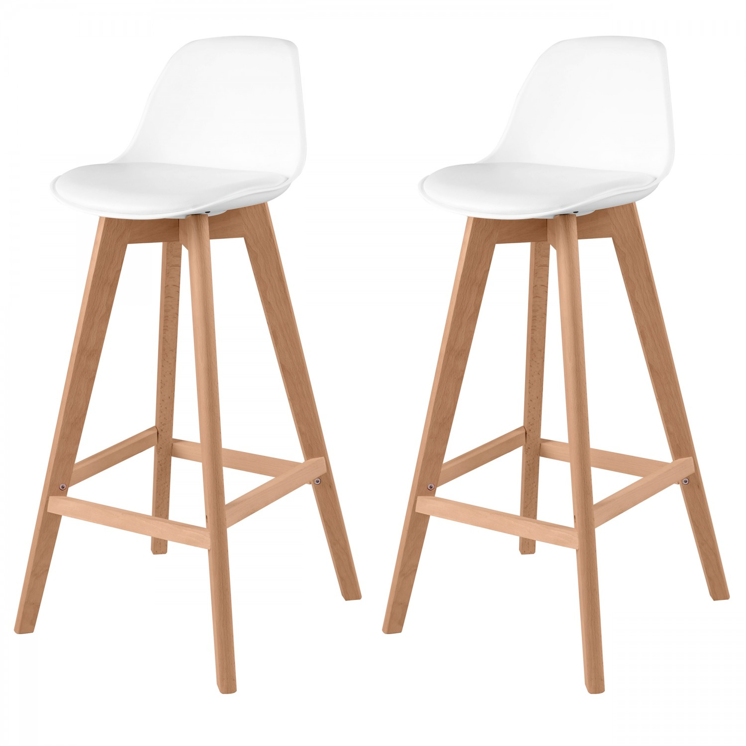 Tabouret De Bar Scandinave Tabouret De Bar Scandinave Blanc Lot De 2 Koya Design