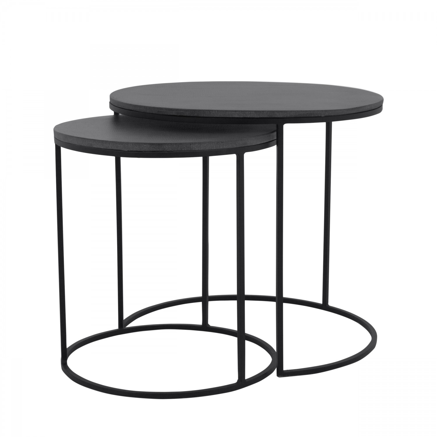 Table Basse Salon Noir Table Basse Gigogne Ronde Batur Lavastone Lot De 2