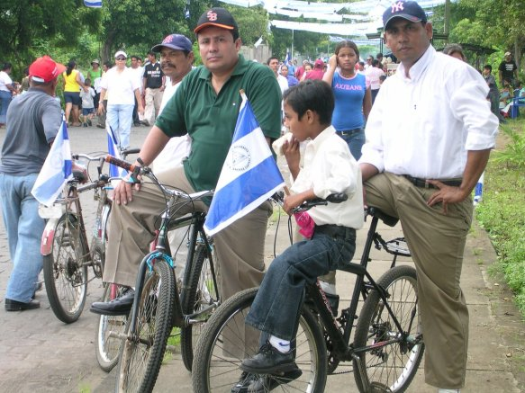 Nicaraguans at a political march in the capital Managua. August 28, 2005