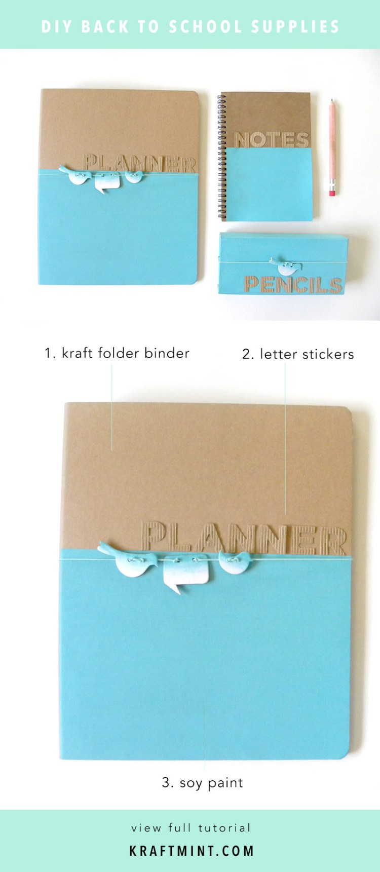 Back to school DIY Folder Binder Stationery kraft&mint