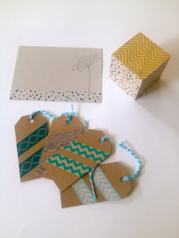 Washi note card, wood block and gift tags.