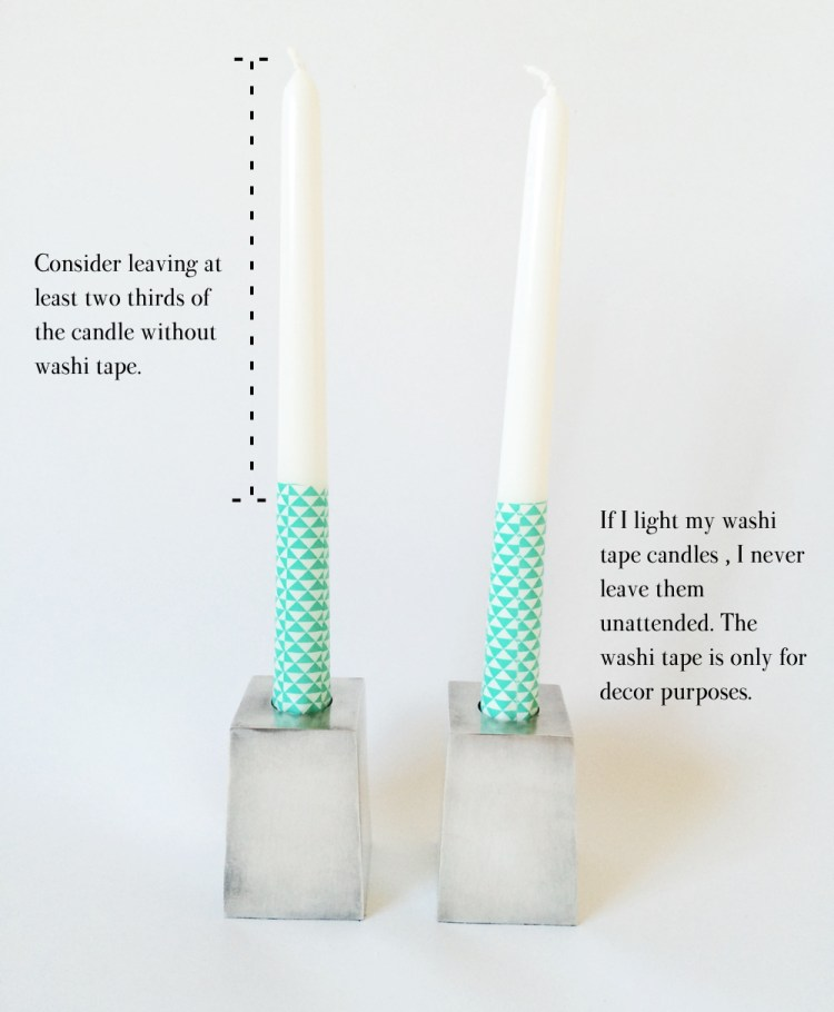 Washi tape tall candles DIY tutorial by kraft&mint  kraftmint.com
