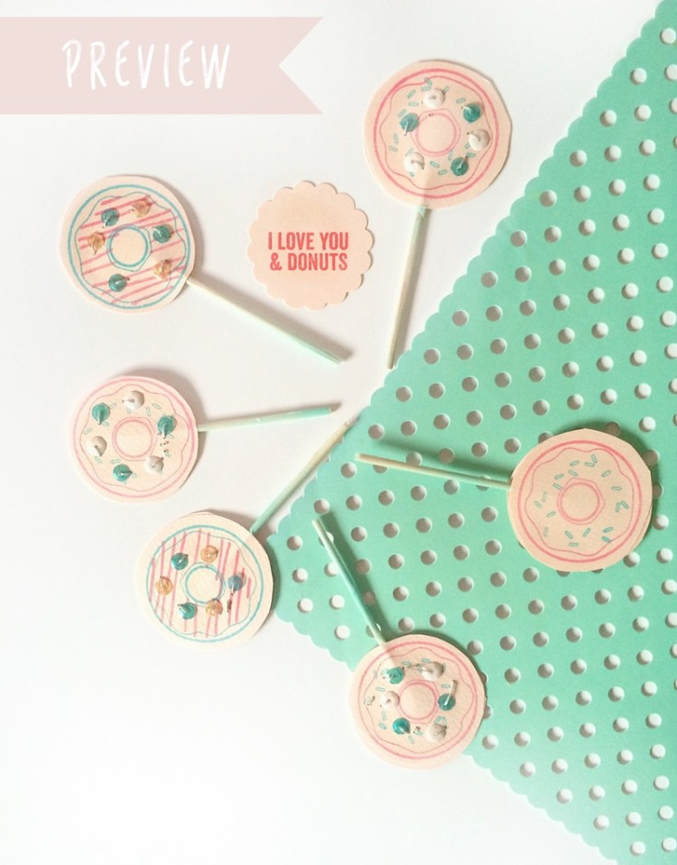 I love you donuts party picks for Simon Says Stamp by kraft&mint PREVIEW