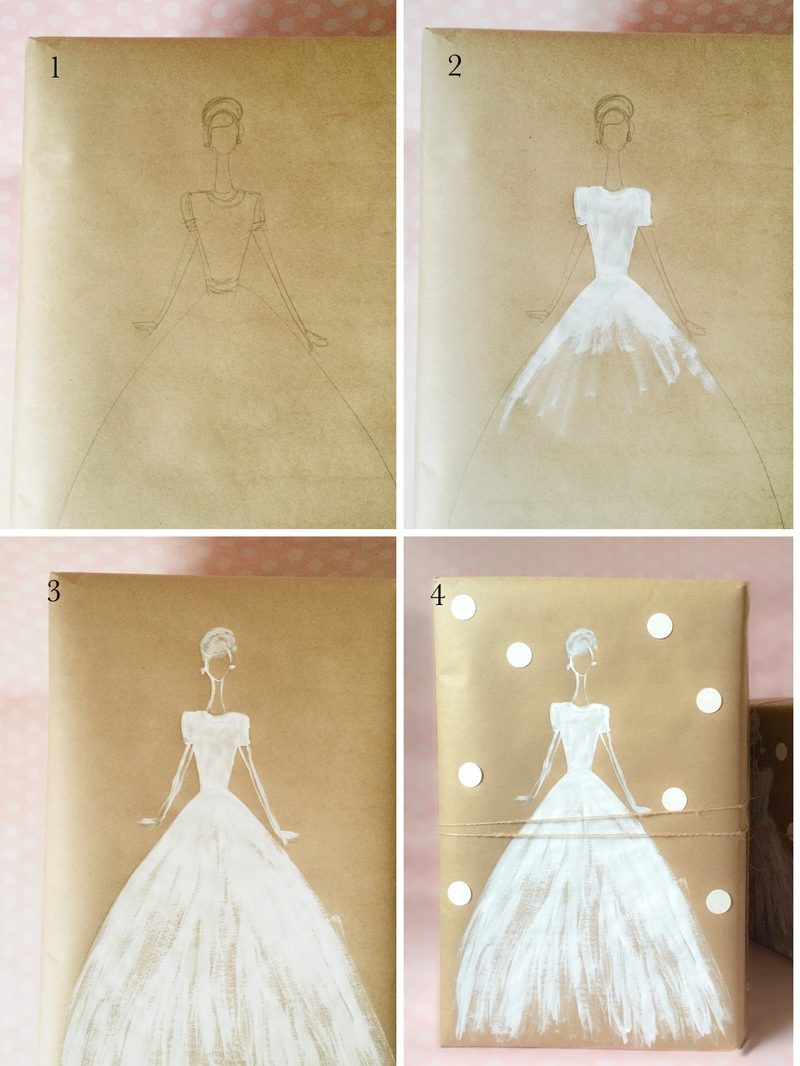 ... wedding gift with Kraft paper and white ink by kraft&mint diy tutorial