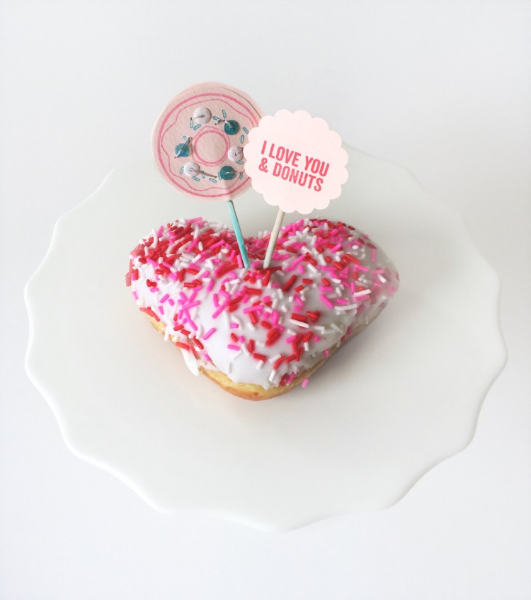 I love you donuts party picks for Simon Says Stamp blog by kraft&mint
