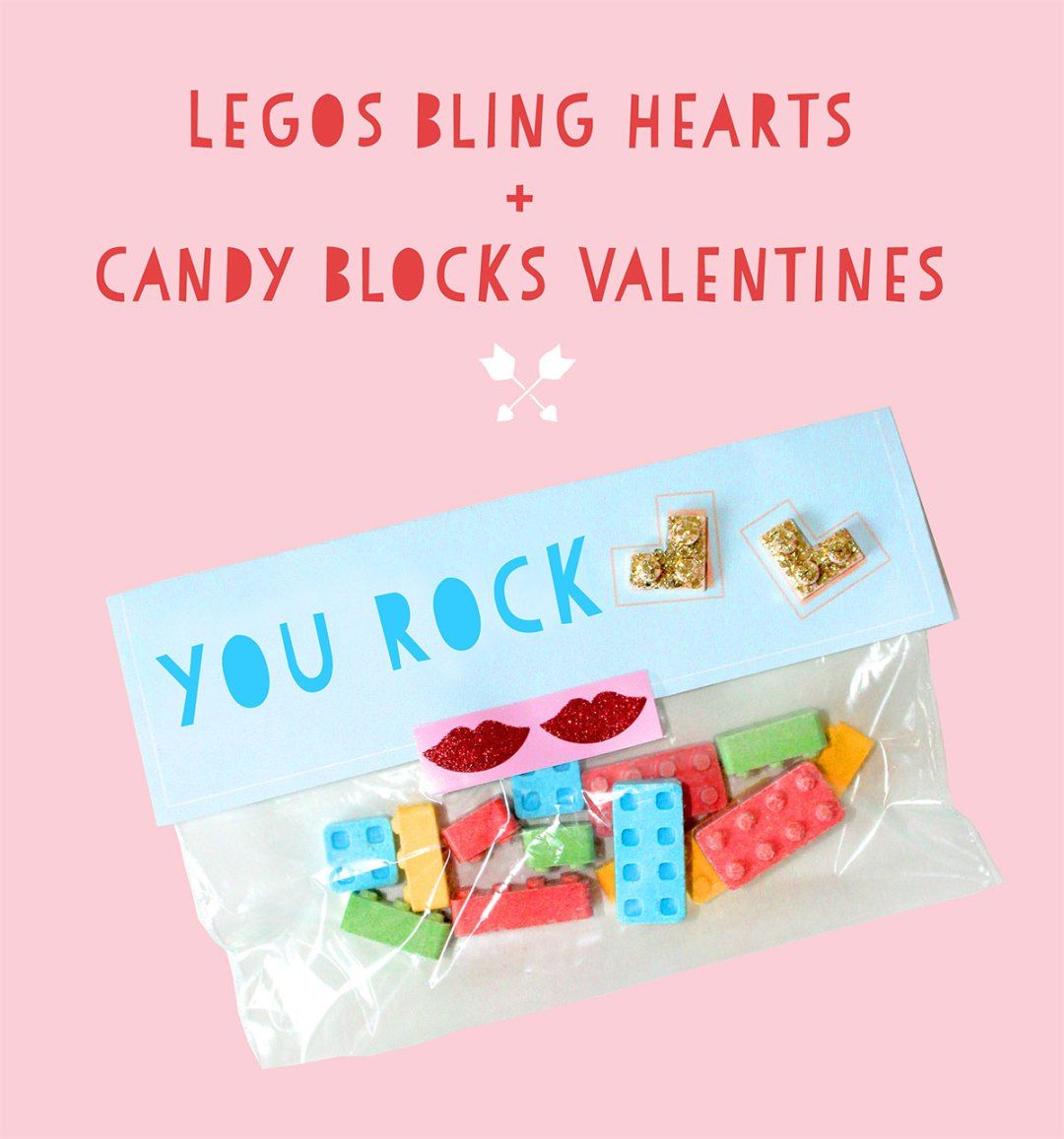 DIY Lego Valentine's Day Bling Hearts and Printable Labels - Part 2