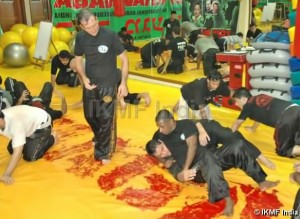 Guru Franklin Joseph training with Grand Master Avi Moyal in ground fighting workshop in Krav Maga Civilian Instructor Course held on September 2007 in New Delhi. At the end of this very session, Guru Franklin Joseph got his chest fractured while participating in a Krav Maga stress game of contact combat.