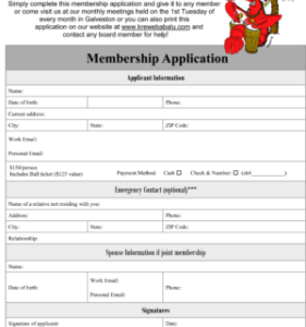 Online Membership Application Join Krewe Babalu of Galveston today Today Apply for membership by mail Apply for membership online Apply for membership in person