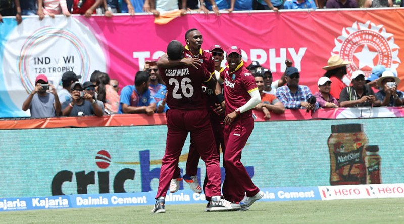 Darren Bravo of the West Indies  celebrates the win during the 1st international T20 Trophy match between India and the West Indies held at the Central Broward Stadium in Fort Lauderdale, Florida, United States of America on the 27th August 2016  Photo by:  Ron Gaunt/ BCCI/ SPORTZPICS
