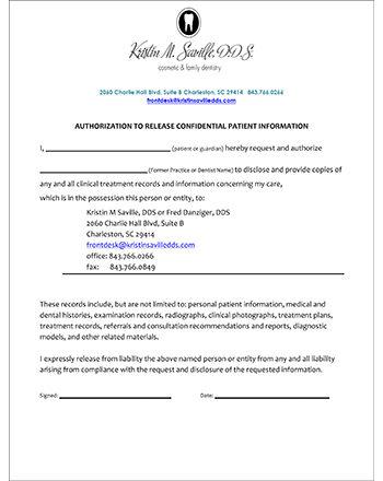 Dental Records Release Form Generic Medical Records Release Form - medical records release forms