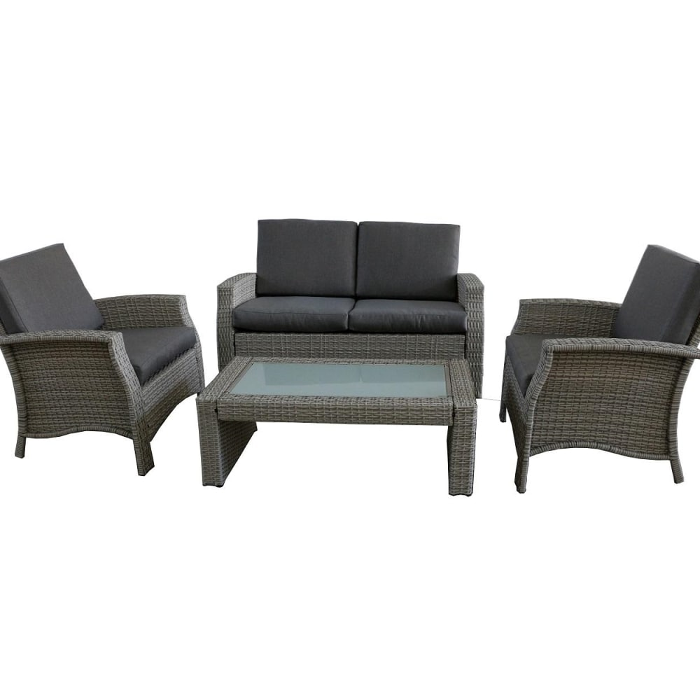 Fred Meyer Northlight 32591330 4 Piece Gray Resin Wicker Outdoor Patio Furniture Set Gray Cushions 4