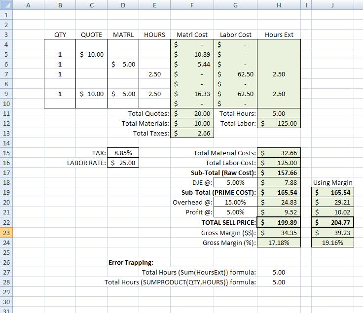 Building a Simple Estimating Template in Excel(TM) IV On Estimating\u2026