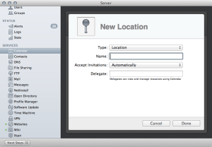 Creating Locations in the Calendar Service of Mountain Lion Server