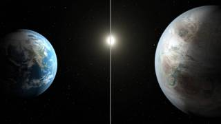 Scientists using data from NASA's Kepler mission have confirmed the first near-Earth-size planet orbiting in the habitable zone of a sun-like star. The habitable zone is the region around a star where temperatures are just right for water to exist in its liquid form.The artistic concept compares Earth (left) to the new planet, called Kepler-452b, which is about 60 percent larger. The illustration represents one possible appearance for Kepler-452b -- scientists do not know whether the planet has oceans and continents like Earth.Both planets orbit a G2-type star of about the same temperature; however, the star hosting Kepler-452b is 6 billion years old, 1.5 billion years older than our sun. As stars age, they become larger, hotter and brighter, as represented in the illustration. Kepler-452b's star appears a bit larger and brighter.Image credit: NASA/Ames/JPL-Caltech/T. Pyle