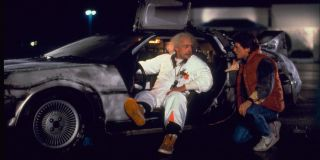 Doc Brown and Marty McFly at the Hill Valley Mall, with that famous car.