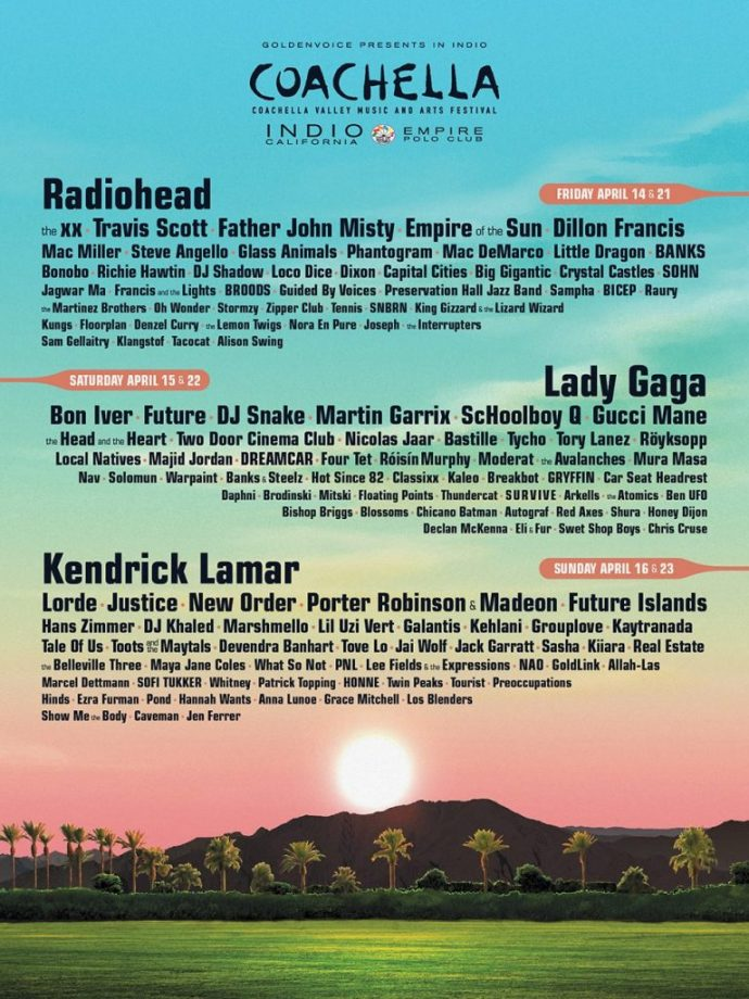Coachella lineup posters every one since 1999 - poster on line
