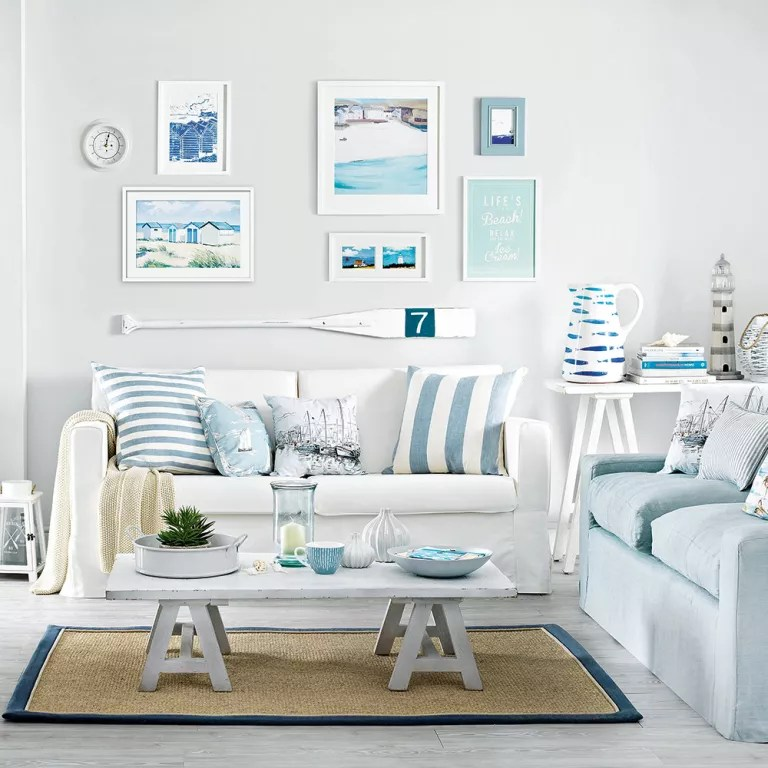 Grey White And Blue Living Room White Living Room Ideas Ideal Home