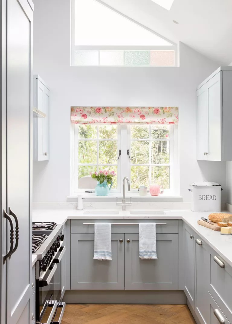 Pale Blue Kitchen Galley Kitchen Makeover With Pale Blue Cabinets Roof Lantern And