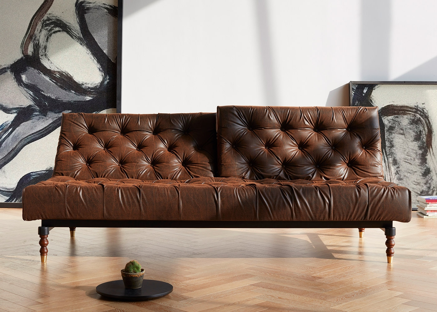 Canapé Vintage En Simili Cuir Marron Chesterfield Chez Ksl Living