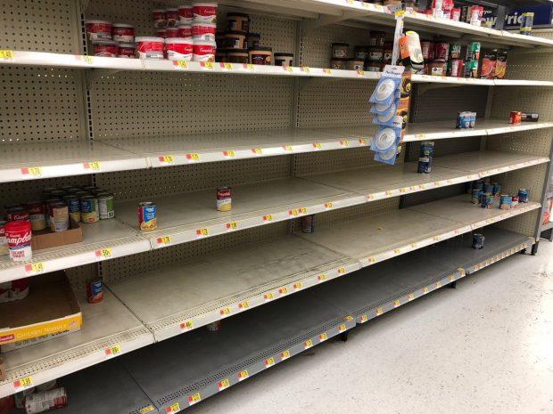 Carolina Beach Walmart empty shelves