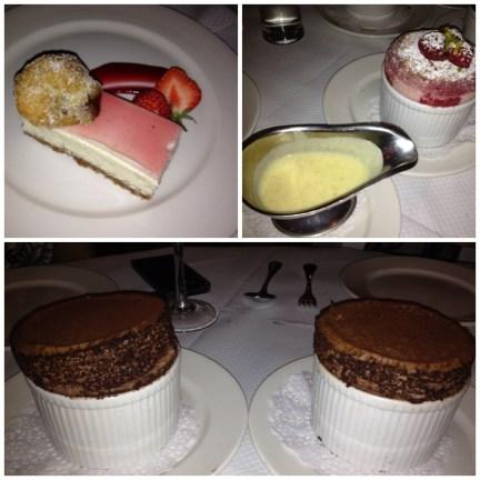 Strawberry Cheesecake; Raspberry Souffle; Chocolate Souffle