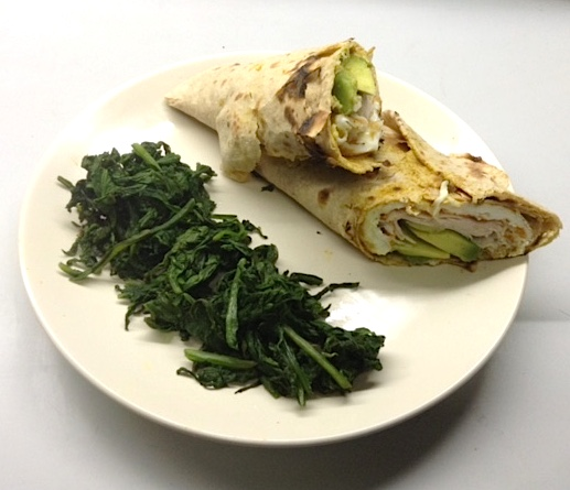 Turkey Avocado & Egg White Wrap with Steamed Spinach