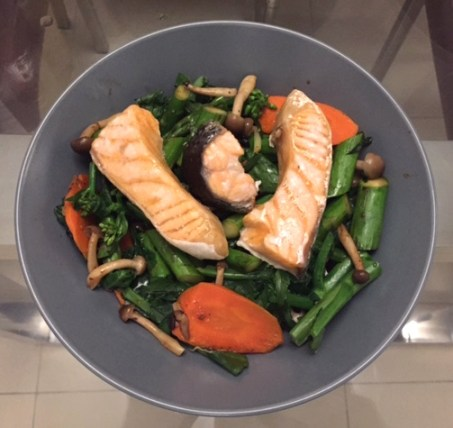 Grilled Salmon with Chinese Greens