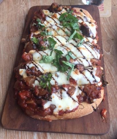 Eggplant Caponata, Oven Dried Tomatoes, Basil & Balsamic Reduction Flatbread - Sassy Spoon, Mumbai