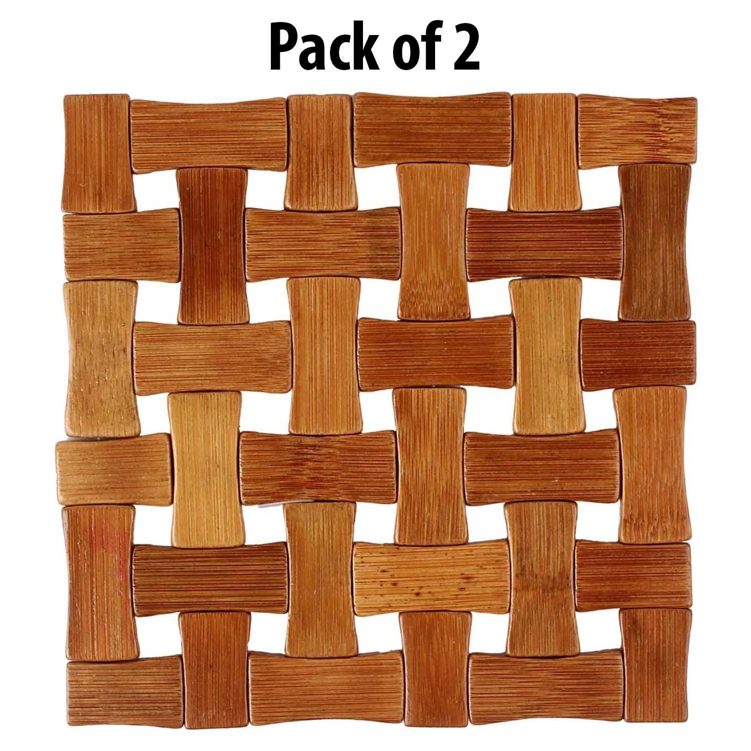 Wooden Coaster Holder Kuber Industries Bamboo Wooden Coaster Pan Pot Holder Heat Insulation Pad Square 13 X 13 Cm 2 Piece Set Ki3432