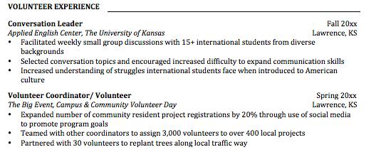 volunteer under resume