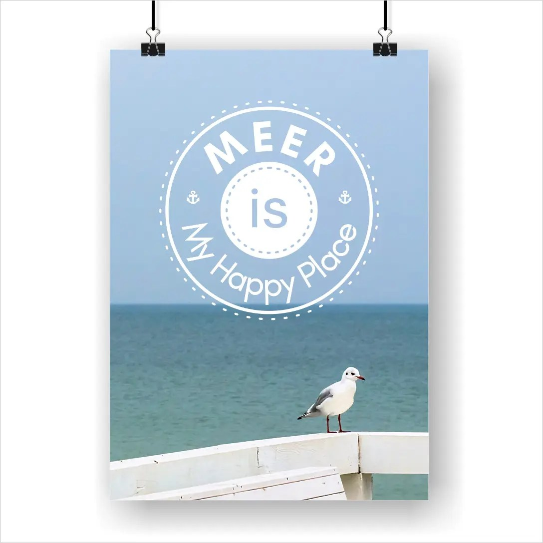 Sprüche Poster Meer Is My Happy Place Poster