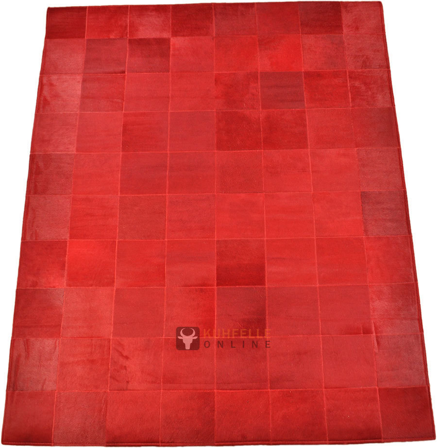 Exklusiver Kuhfell Teppich Rot 160 X 200 Cm Bei Kuhfelle Online - Rote Runde Teppiche