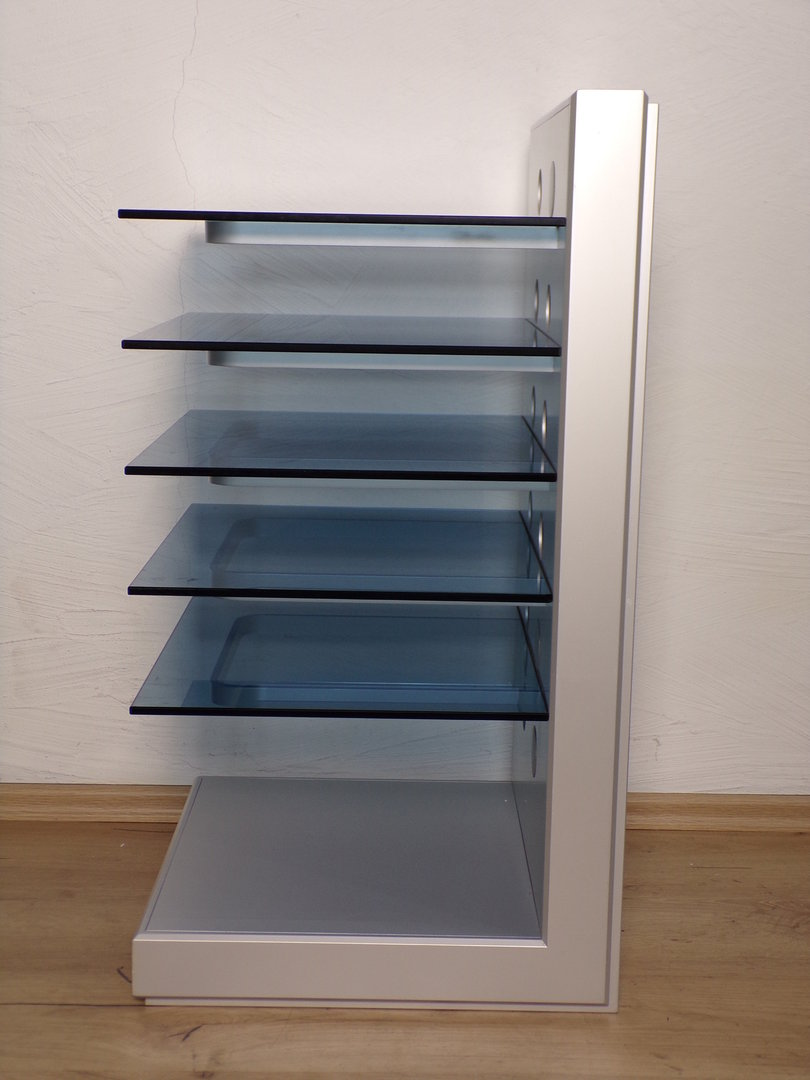 Hifi Rack Design T A Hifi Rack Silver Grey Very Good Conditon Blue Glass Floor