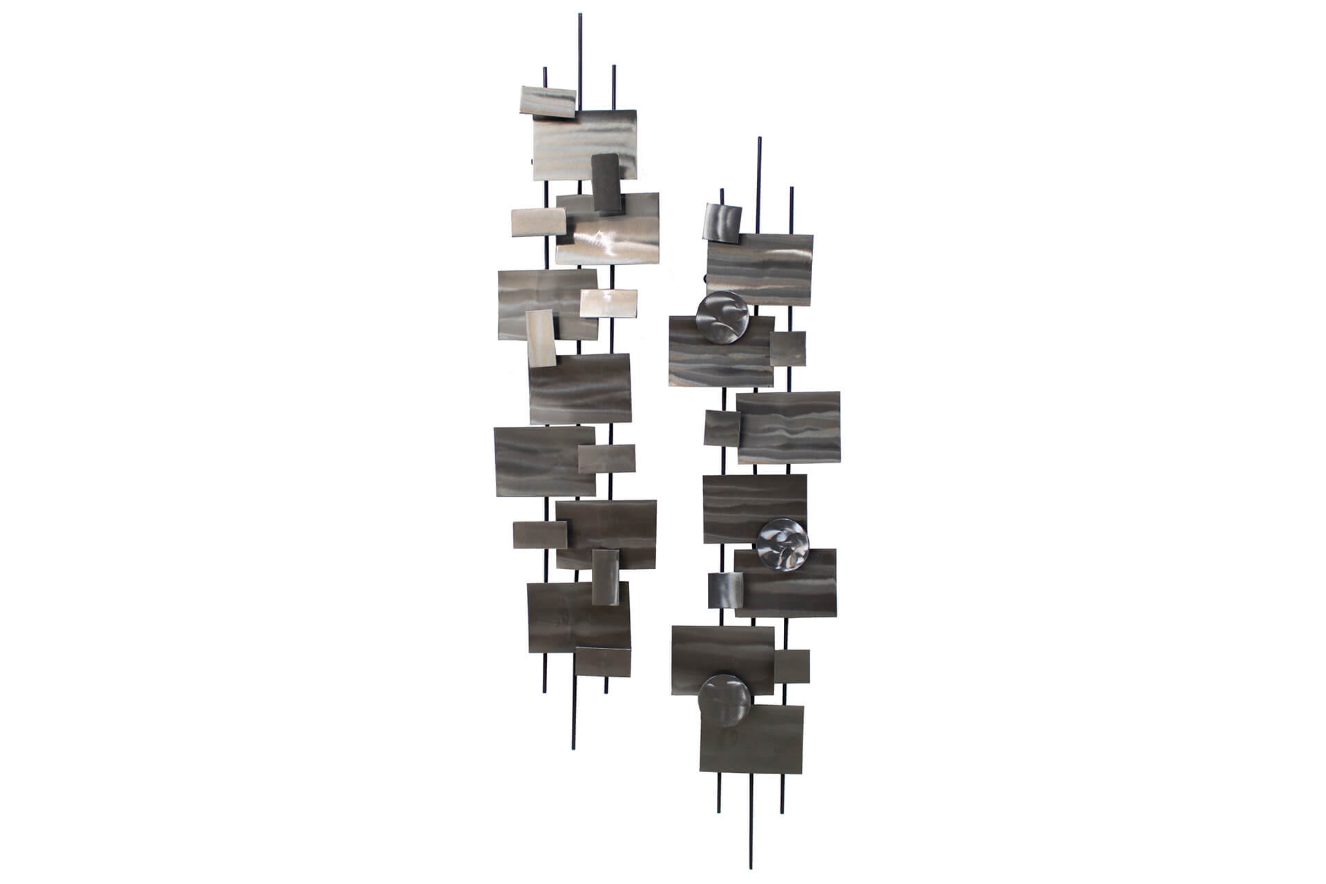 Wanddeko In Metall Metal Wall Art Living Geometry 10x43x6 Inches