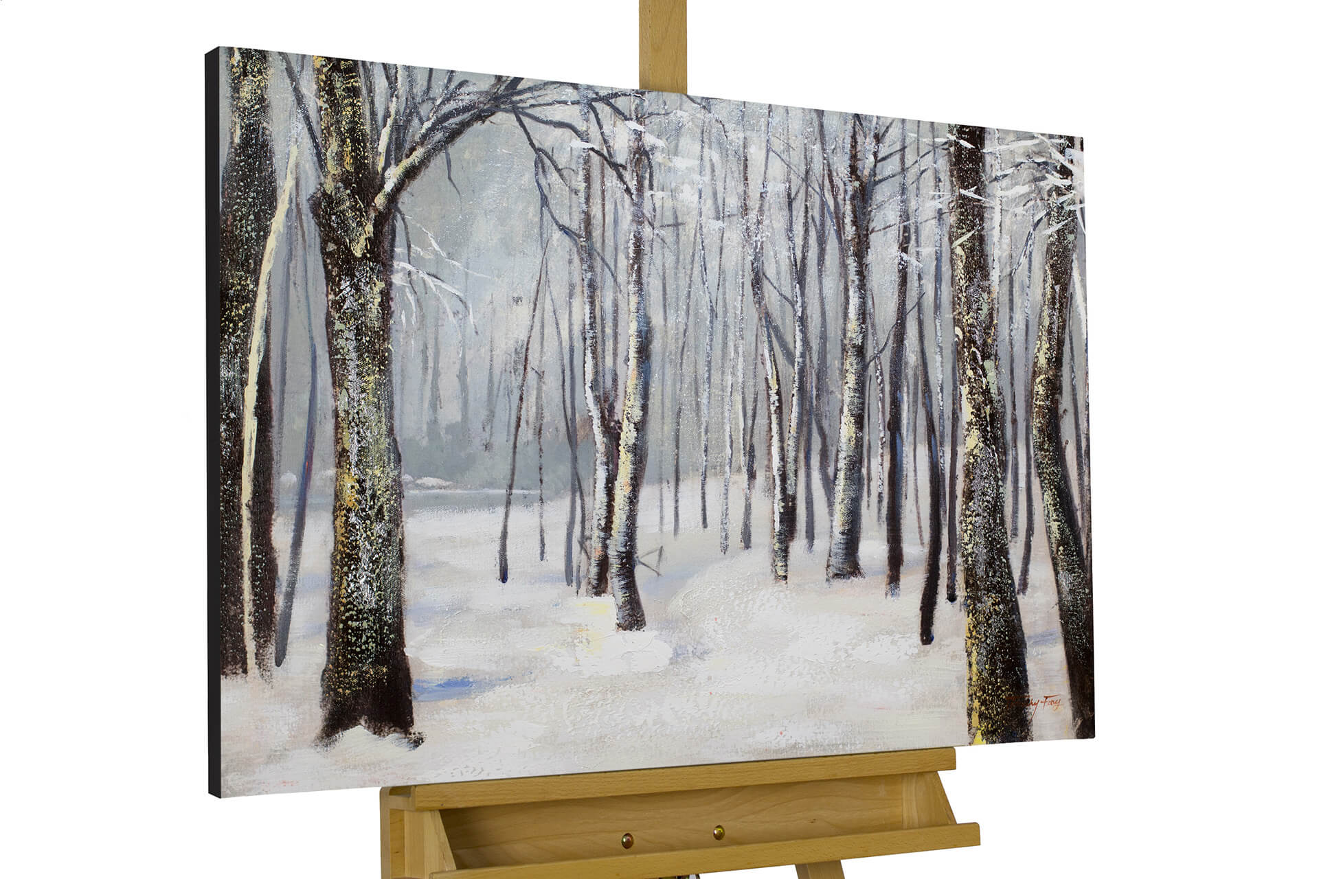 Leinwand Wald Acryl Gemälde Traces In The Snow 90x60cm