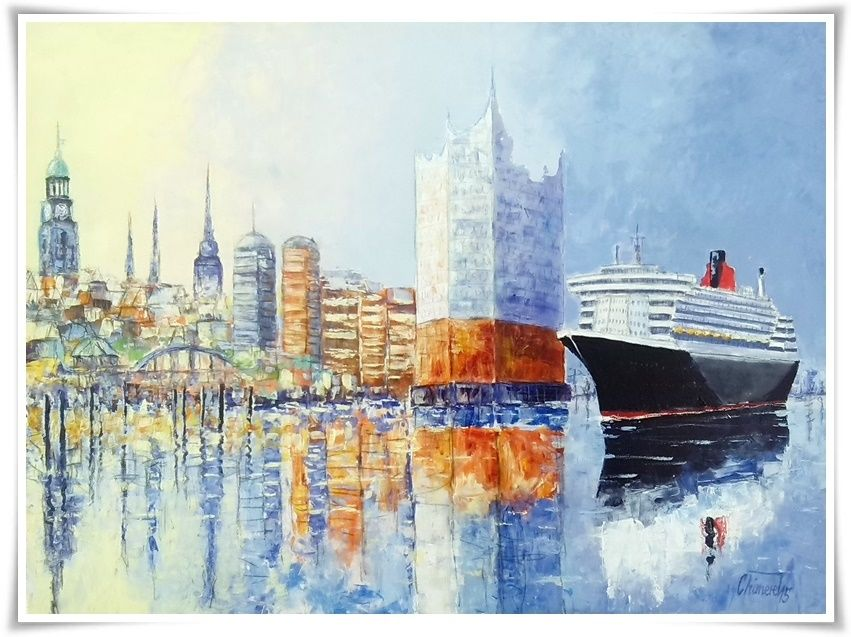 Kunst Bilder Leinwand Hamburger Skyline Mit Philharmonie Und Queen Mary 2