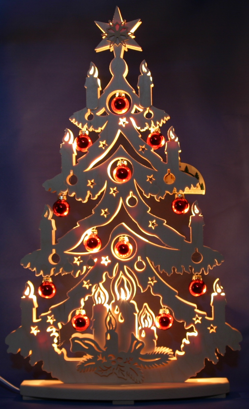 3d Schwibbogen Led Fir Fir Tree With Baubles 72x38cm Erzgebirge Lights Arch Ebay