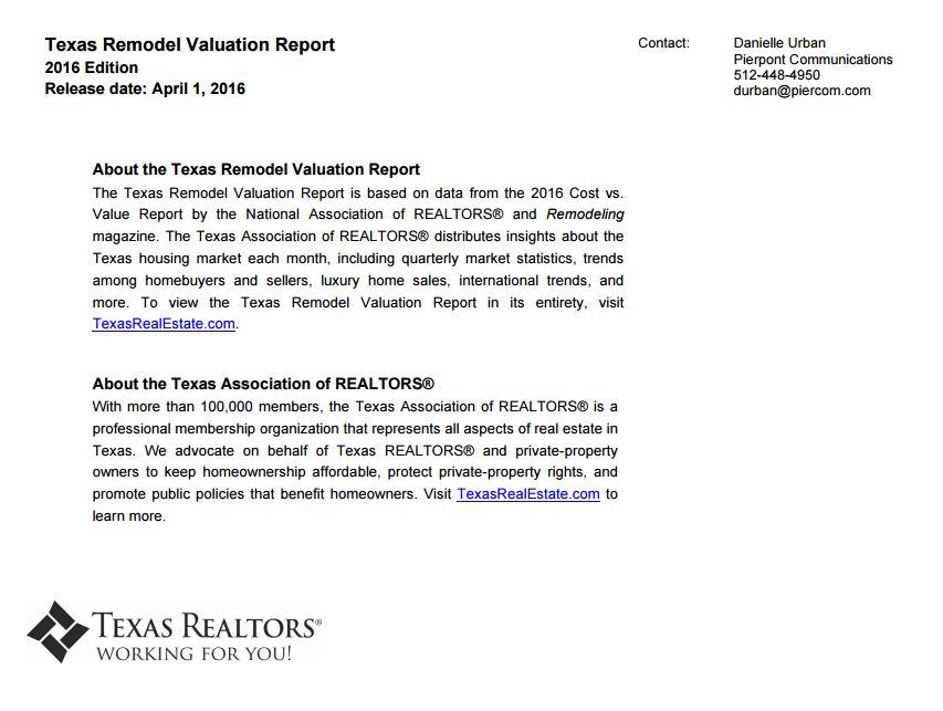 TAR Texas Remodel Valuation Report April 2016