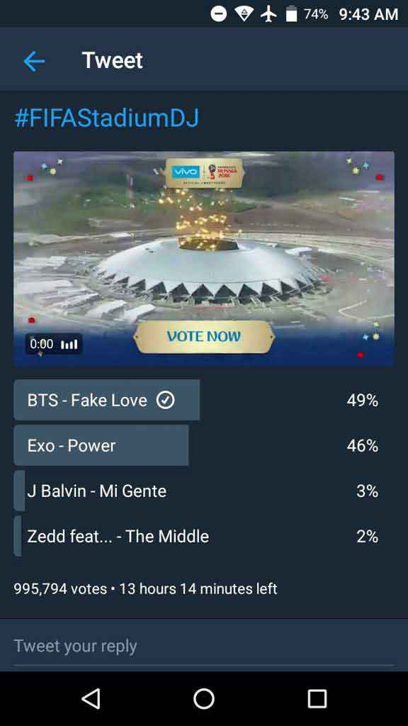 hasil vote bts fake love exo power fifa world cup 2018