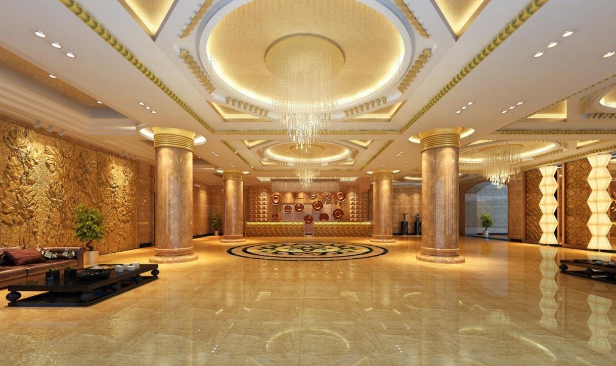 3d rendering luxury hotel lobby china
