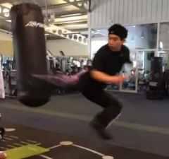 Jump reverse turn kick