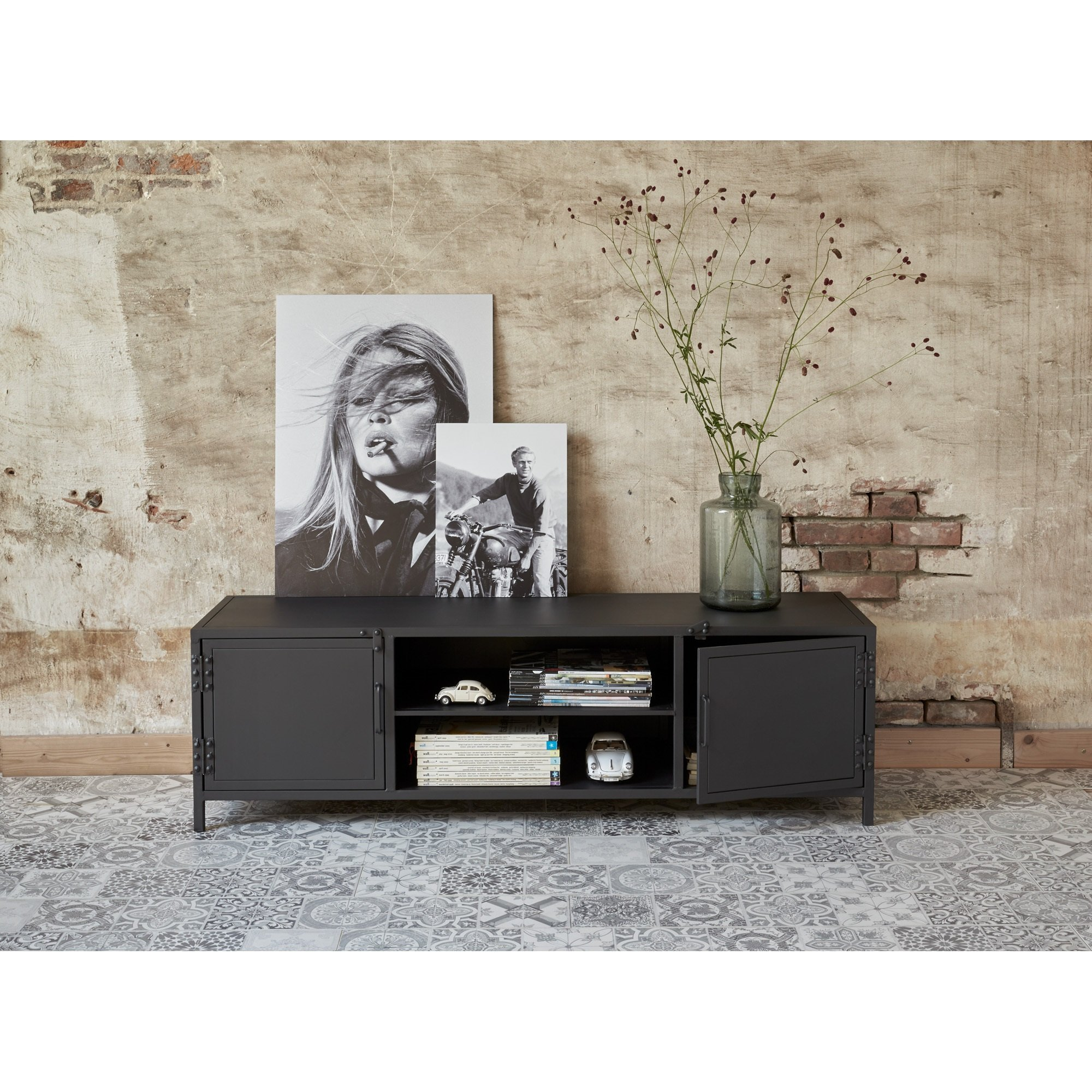 Meuble Vynil Metalen Tv Meubel Castello Zwart Kwantum