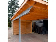 Stahlcarport Mit Holz Kwp Caports - Stahlcarport